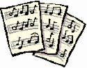 cartoon music sheets