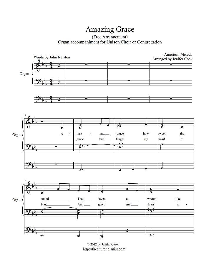Amazing grace organ congregational