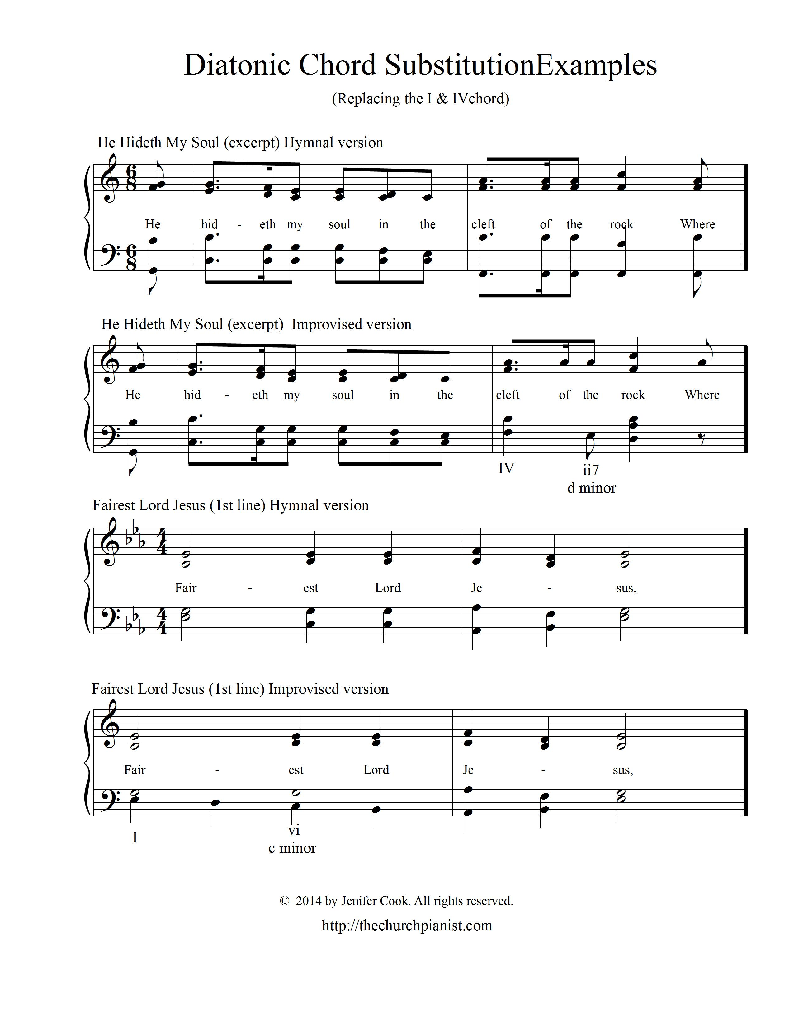 chord substitution chart piano pdf
