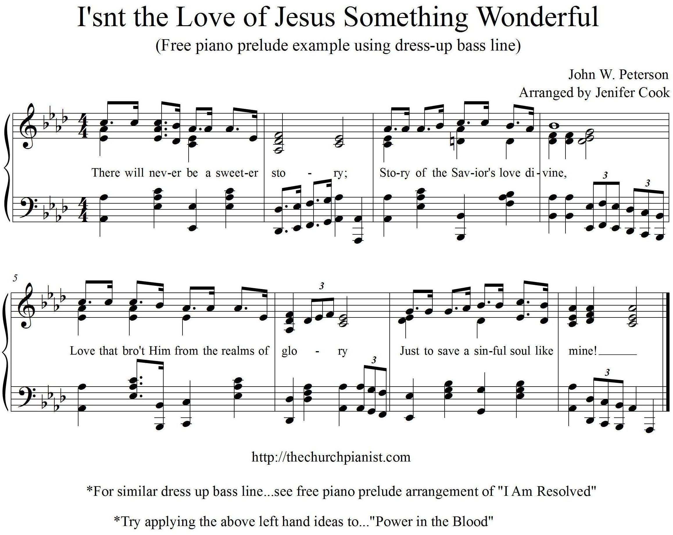 The church pianist chords free piano excerpt of isnt the love of jesus something wonderful hexwebz Choice Image