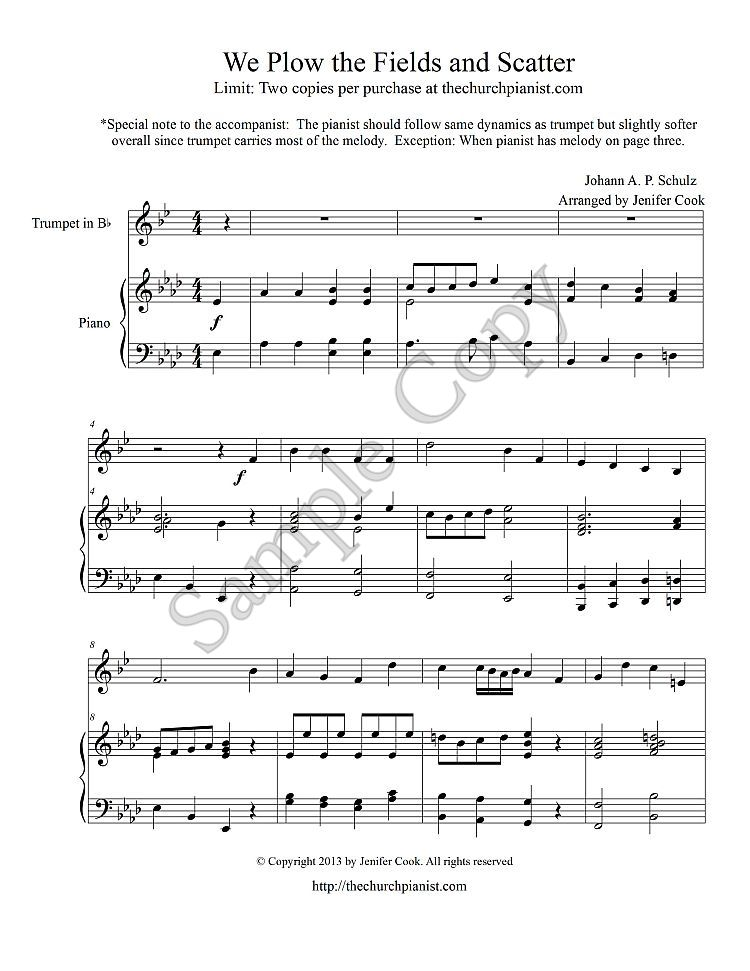 Piano piano and trumpet duet sheet music : The Church Pianist » Trumpet Solo